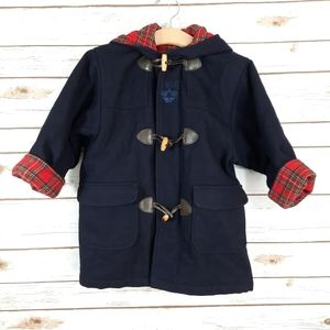 Jean Bourget Navy Wool Toggle Front Hooded Coat